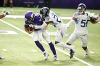Minnesota Vikings quarterback Kirk Cousins (8) is sacked by Tennessee Titans cornerback Kristian Fulton during the second half of an NFL football game, Sunday, Sept. 27, 2020, in Minneapolis. The Titans won 31-30. (AP Photo/Bruce Kluckhohn)