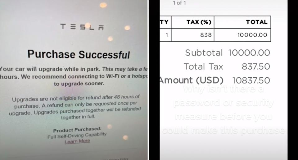 The confirmation email from Tesla and the receipt.