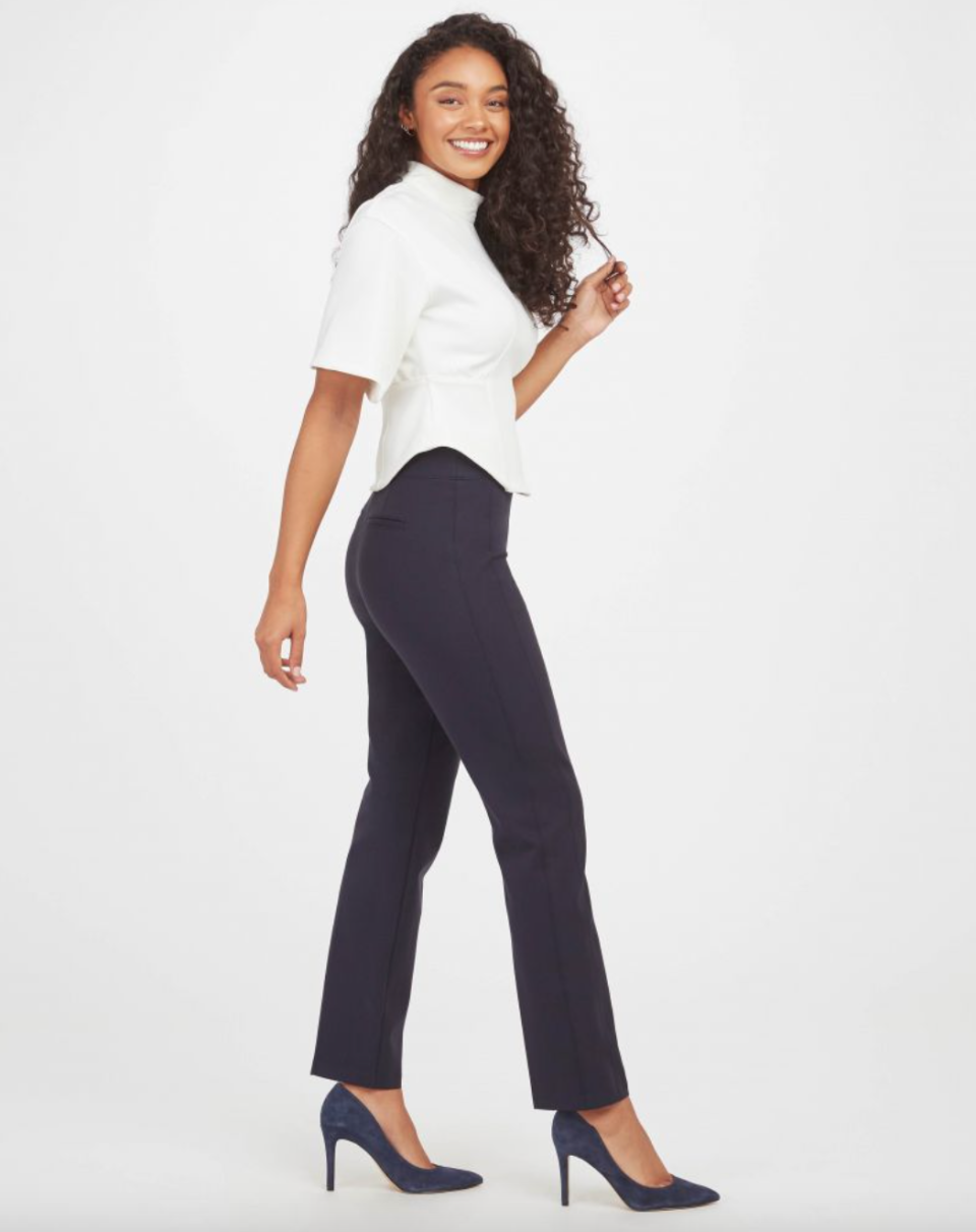 'The Perfect Pant' Slim Straight in Navy (Photo via Spanx)