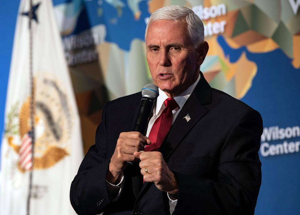 US Vice President Mike Pence speaks on the future of the US relationship with China at the  Wilson Center's inaugural Frederic V. Malek Public Service Leadership lecture, in Washington, DC, on October 24, 2019. (Photo by NICHOLAS KAMM / AFP) (Photo by NICHOLAS KAMM/AFP via Getty Images)