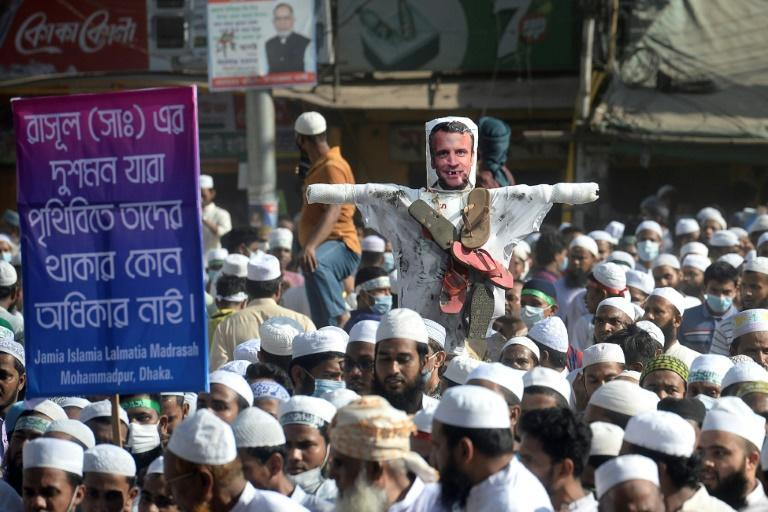 Some demonstrators in Dhaka burned an effigy of French President Emmanuel Macron