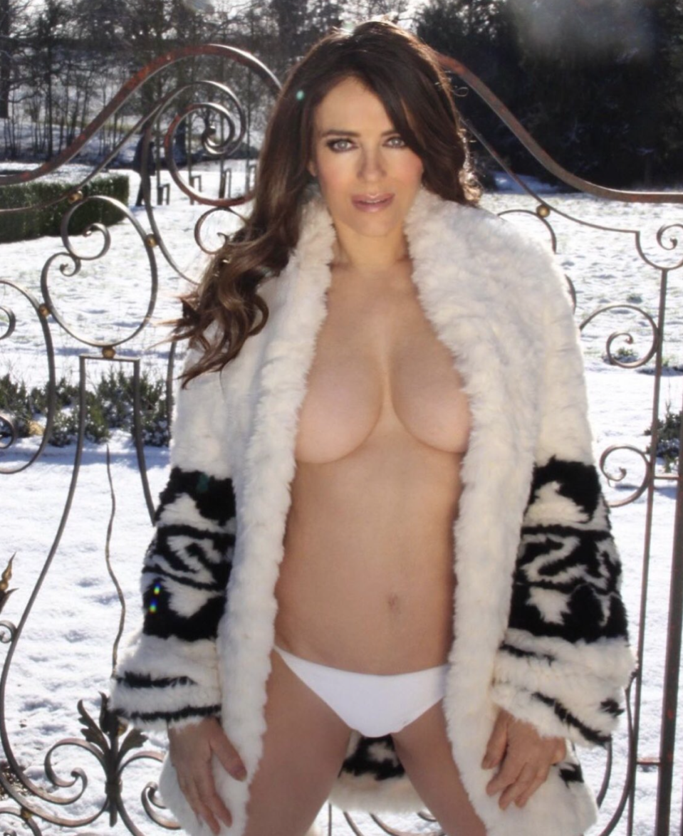 Elizabeth Hurley clarified who snapped her latest sexy photo shoot. (Screenshot: Elizabeth Hurley)