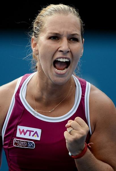 Dominika Cibulkova of Slovakia wins a game against Angelique Kerber of Germany during their semi-final at the Sydney International on January 10, 2013. Agnieszka Radwanska will put her eight-match winning streak on the line when she faces Cibulkova in the final on Friday