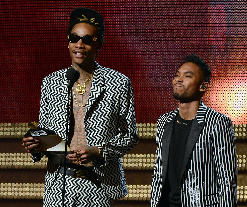 Wiz Khalifa and Miguel onstage at the 55th Annual Grammy Awards at the Staples Center in Los Angeles, CA on February 10, 2013.