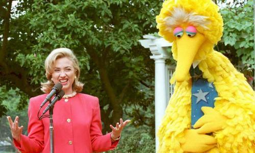 Then first lady Hillary Clinton speaking withBig Bird about the benefits of public broadcasting.