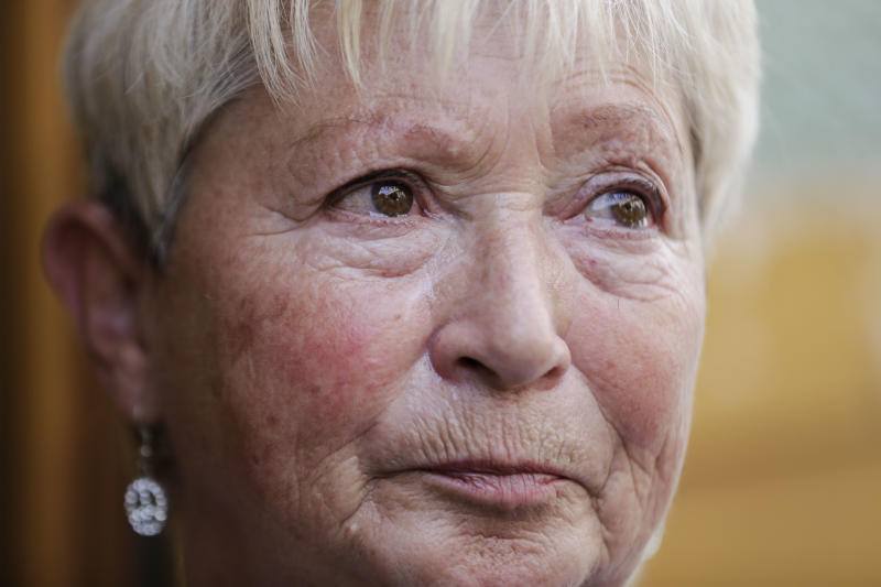 In this Aug. 29, 2013 photo, 70-year-old Christel Paweski, who worked in a hospital and a nursing home before retiring six years ago, looks on, during an interview with The Associated Press in Berlin. Paweski's plight and that of millions of other Germans living below or close to the poverty line burst onto the campaign for the Sept. 22 national election after she tearfully confronted Chancellor Angela Merkel on national television, asking whether the country's leader had forgotten the growing numbers of retirees and working poor who have missed out on Germany's economic success. (AP Photo/Markus Schreiber)