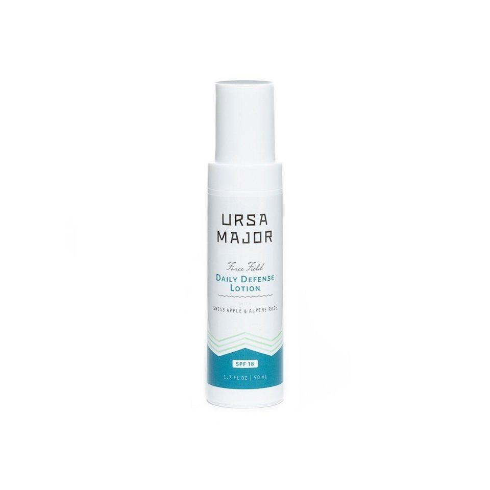 """<p><strong>Ursa Major</strong></p><p>credobeauty.com</p><p><strong>$54.00</strong></p><p><a href=""""https://go.redirectingat.com?id=74968X1596630&url=https%3A%2F%2Fcredobeauty.com%2Fproducts%2Fursa-major-force-field-daily-defense-lotion&sref=http%3A%2F%2Fwww.townandcountrymag.com%2Fstyle%2Fbeauty-products%2Fg27467618%2Fbest-natural-organic-sunscreen%2F"""" rel=""""nofollow noopener"""" target=""""_blank"""" data-ylk=""""slk:Shop Now"""" class=""""link rapid-noclick-resp"""">Shop Now</a></p><p>If you are looking for a very light sunscreen for your day-to-day, Ursa Major's SPF 18 moisturizer is a great option to protect your face. Gentle enough for sensitive skin, this unscented hydrator is packed with vitamins and minerals to rejuvenate your complexion all while protecting it from sun damage. </p>"""