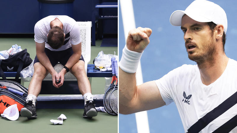 Andy Murray (pictured left) looking dejected and tired and (pictured right) celebrating with a fist-pump.