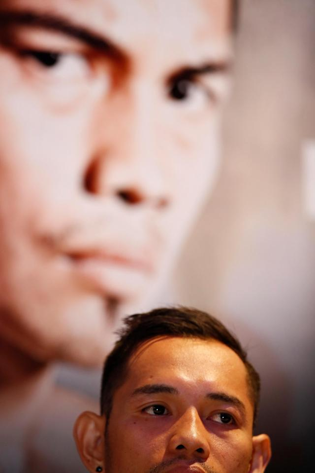 Boxing - Carl Frampton & Nonito Donaire Public Work-Outs - Victoria Square Shopping Centre, Belfast, Britain - April 18, 2018 Nonito Donaire during a press conference Action Images via Reuters/Jason Cairnduff