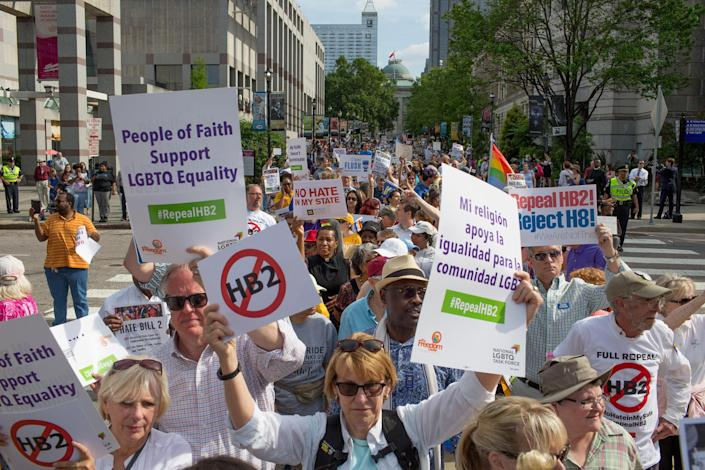 Demonstrators call for the repeal of HB2 in Raleigh, N.C., on April 25, 2016. Organizations that filed suit against the so-called bathroom bill say the law that replaced it leaves transgender people unprotected from discrimination. (Photo: Jill Knight/Raleigh News & Observer/TNS)