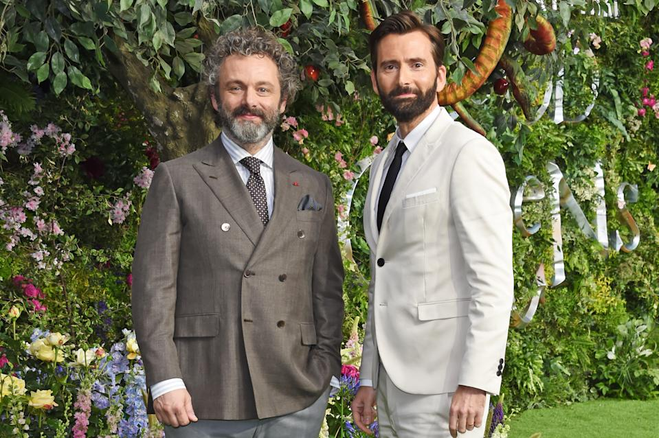 """LONDON, ENGLAND - MAY 28:   Michael Sheen and David Tennant attend the World Premiere of new Amazon Original """"Good Omens"""" at the Odeon Luxe Leicester Square on May 28, 2019 in London, England.  (Photo by David M. Benett/Dave Benett/WireImage)"""