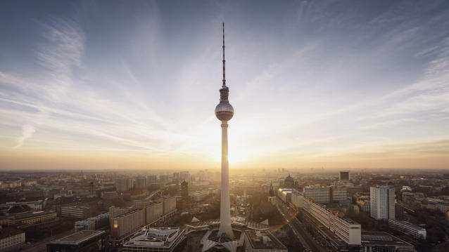 The skyline of Berlin with the Fernsehturm (TV tower) in the foreground.