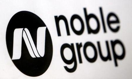A Noble Group sign is pictured at a meet-the-investors event in Singapore
