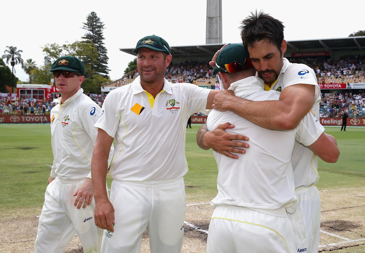 PERTH, AUSTRALIA - DECEMBER 17:  Mitchell Johnson of Australia celebrates victory during day five of the Third Ashes Test Match between Australia and England at WACA on December 17, 2013 in Perth, Australia.  (Photo by Ryan Pierse/Getty Images)