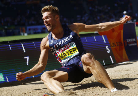 2018 European Championships - Men's Decathlon Long Jump - Olympic Stadium, Berlin, Germany - August 7, 2018 - Kevin Mayer of France competes. REUTERS/Kai Pfaffenbach