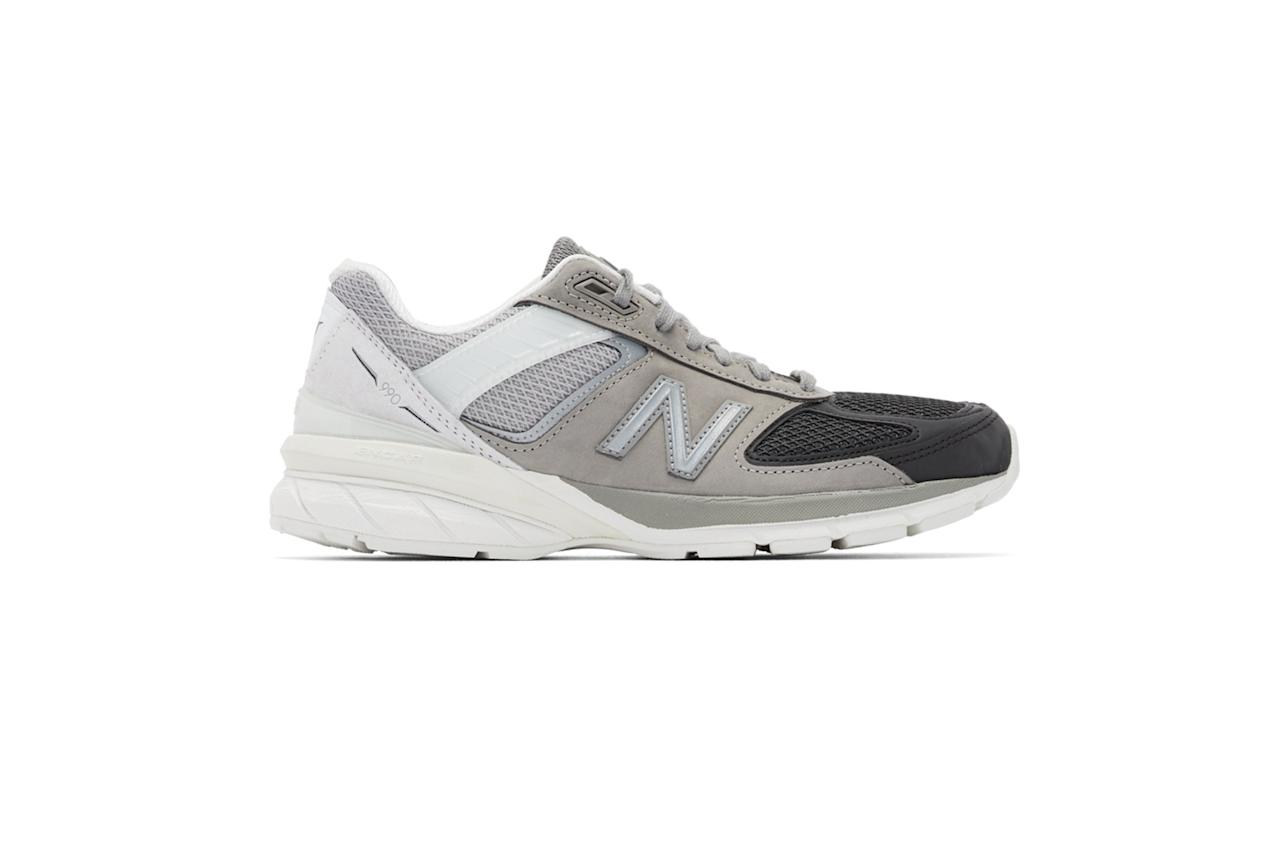"$175, Ssense. <a href=""https://www.ssense.com/en-us/men/product/new-balance/grey-and-black-us-made-990v5-sneakers/4466191"">Get it now!</a>"