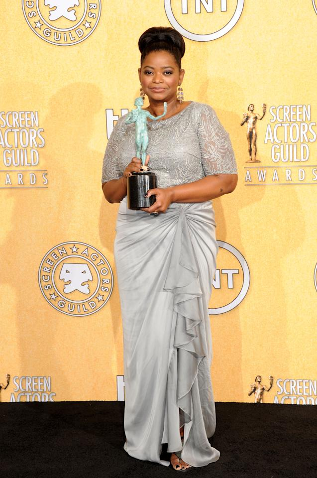 LOS ANGELES, CA - JANUARY 29:  Actress Octavia Spencer poses in the press room during the 18th Annual Screen Actors Guild Awards at The Shrine Auditorium on January 29, 2012 in Los Angeles, California.  (Photo by Jason Merritt/Getty Images)