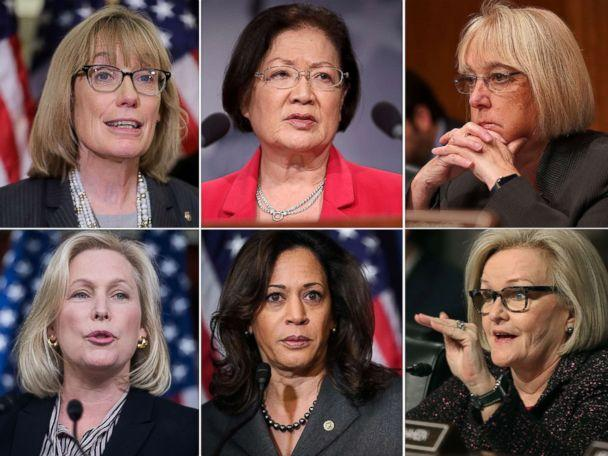 PHOTO: A combination photo showing, top row from left: Sen. Maggie Hassan (D-NH), Sen. Mazie Hirono (D-HI), Sen. Patty Murray (D-WA). Bottom row from left: Sen. Kirsten Gillibrand (D-N.Y.), Sen. Kamala Harris (D-CA), Sen. Claire McCaskill (D-MO). (AP/Getty Images)