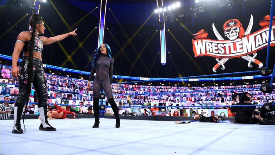 Bianca Belair and Sasha Banks during an episode of Smackdown. (Photo courtesy of WWE)