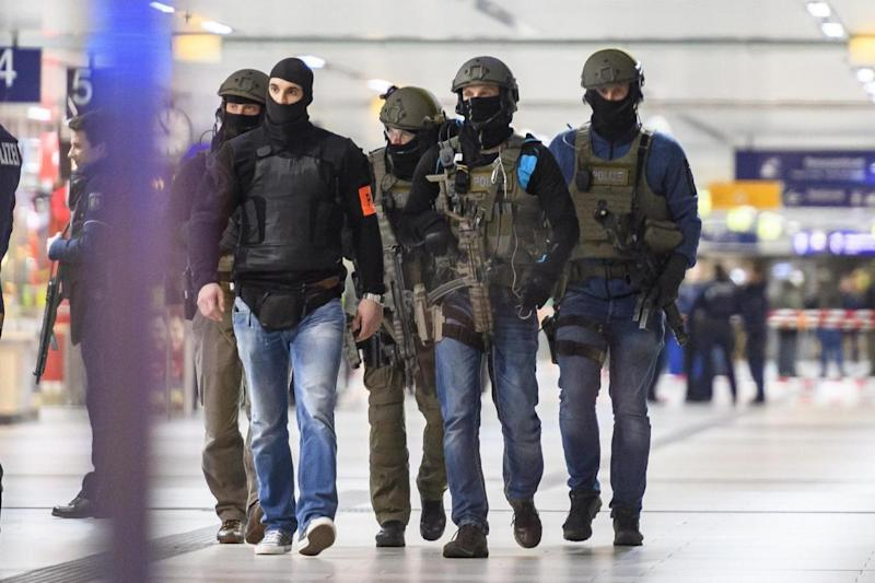 The railway station was flooded with police. (Getty Images)