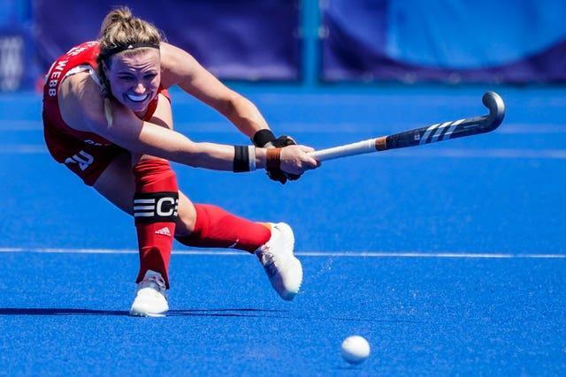 Hollie Pearne-Webb in action for Great Britain, who launched their defence of the Olympic women's hockey title with a 2-1 Pool A defeat by Germany