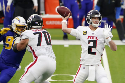 Atlanta Falcons quarterback Matt Ryan throws against the Los Angeles Chargers during the first half of an NFL football game Sunday, Dec. 13, 2020, in Inglewood, Calif. (AP Photo/Jae C. Hong)