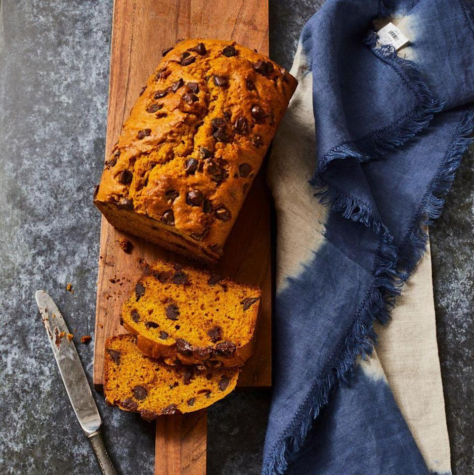 "<p>Rule #1 of Thanksgiving: There can never be too much pumpkin. Start the day right with this deliciously sweet n' spicy loaf.</p><p><em><a href=""https://www.goodhousekeeping.com/food-recipes/easy/a33406715/pumpkin-chocolate-chip-bread-recipe/"" rel=""nofollow noopener"" target=""_blank"" data-ylk=""slk:Get the recipe for Pumpkin Chocolate Chip Bread »"" class=""link rapid-noclick-resp"">Get the recipe for Pumpkin Chocolate Chip Bread »</a></em></p><p><strong>RELATED: </strong><a href=""https://www.goodhousekeeping.com/food-recipes/g3639/best-pumpkin-recipes/"" rel=""nofollow noopener"" target=""_blank"" data-ylk=""slk:43 Sweet and Savory Pumpkin Recipes to Make This Fall"" class=""link rapid-noclick-resp"">43 Sweet and Savory Pumpkin Recipes to Make This Fall</a><br></p>"