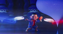 "This image released by Netflix shows animated character Chin, voiced by Robert G. Chiu, in a scene from ""Over the Moon."" (Netflix via AP)"