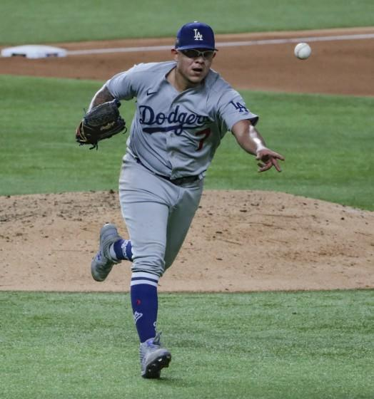 Arlington, Texas, Wednesday, October 14, 2020. Los Angeles Dodgers starting pitcher Julio Urias.