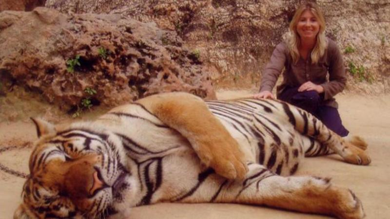 Angela Saurine at the Tiger Temple in Thailand. Photo: Supplied