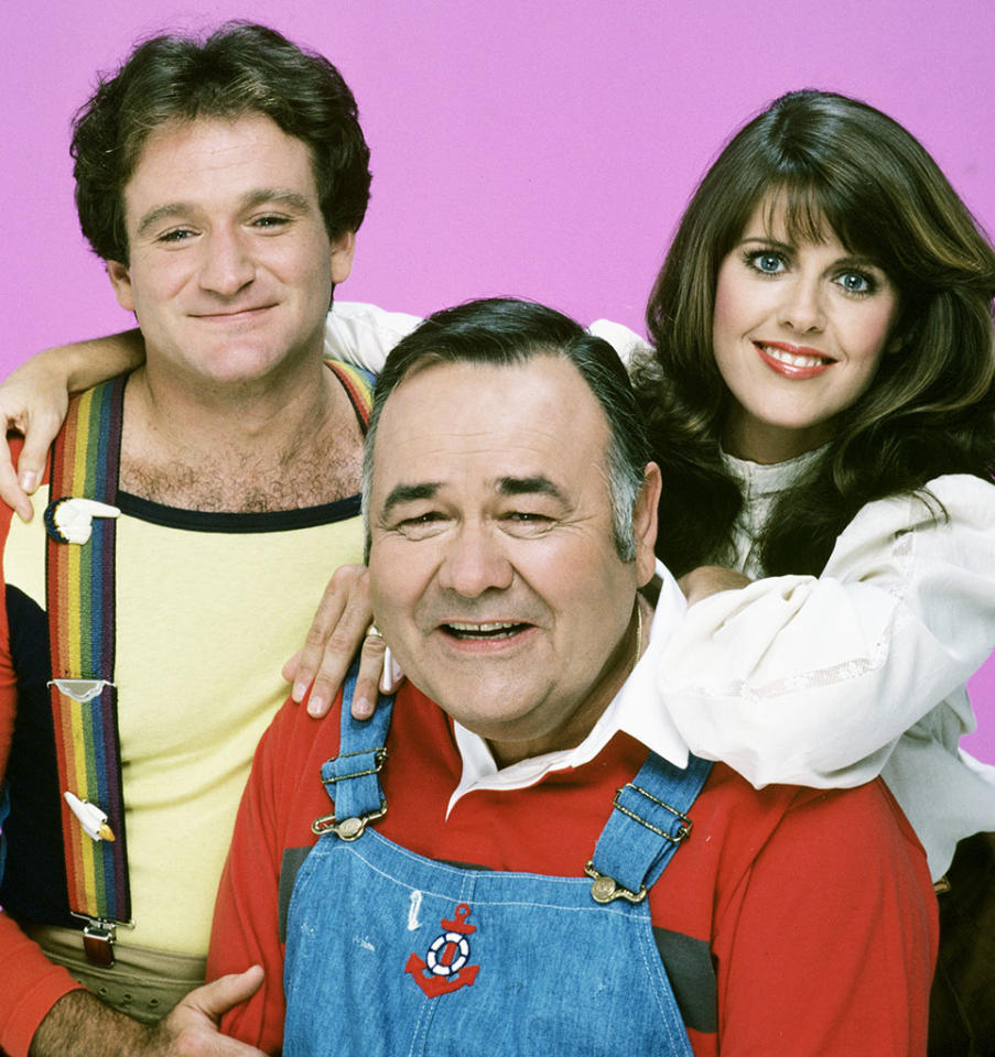 """""""Mork & Mindy"""" - The fourth season brought a surprising development to the series when Mork (Robin Williams) married Mindy (Pam Dawber), and he gave birth to their first child, the full-grown Mearth (Jonathan Winters), who looked middle-aged, but babbled like a baby."""