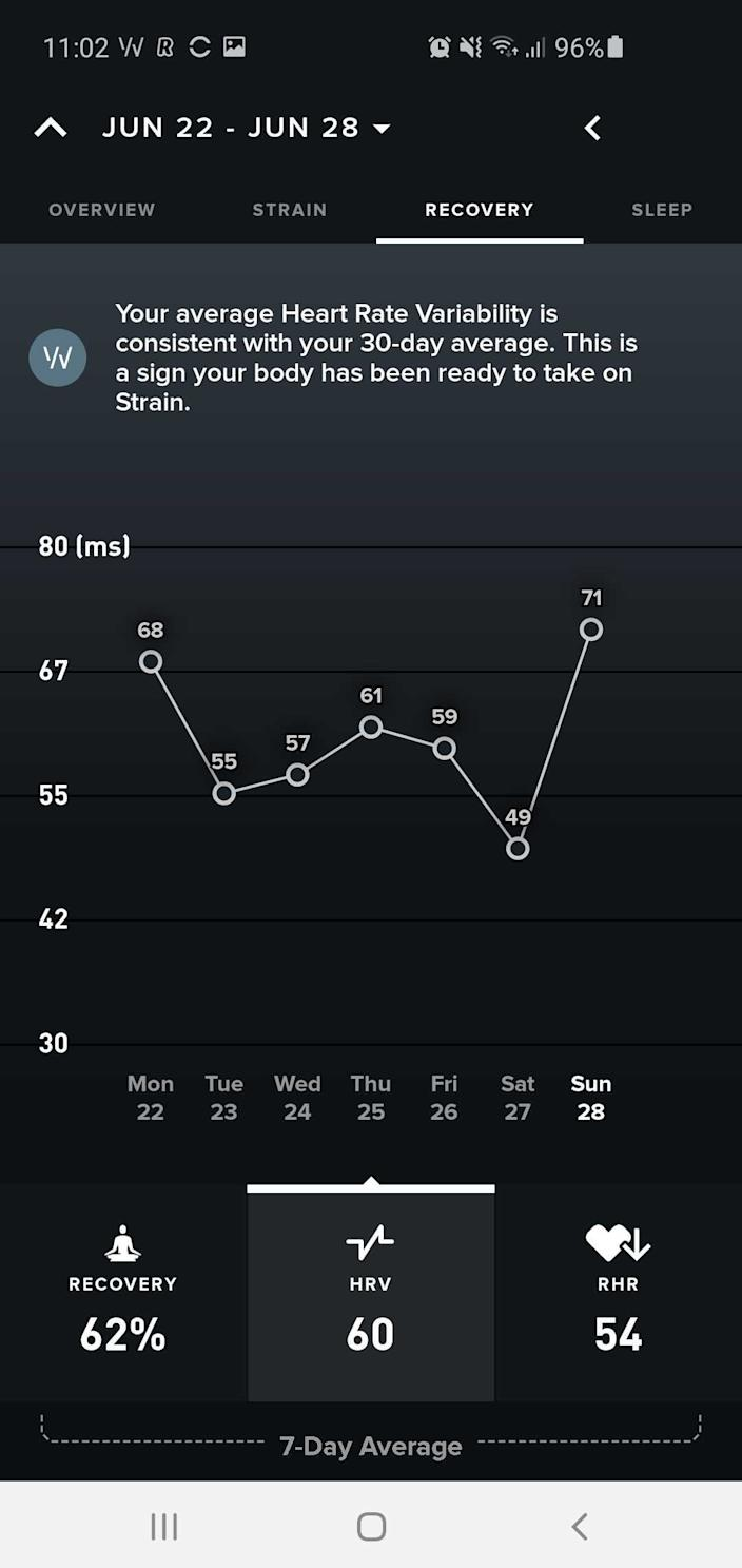 The recovery section of the app plots your HRV over time, so you can track trends. As a general rule, after hard training days your HRV will drop, and it will increase as you recover. When you figure out what is good, you should be able to understand when you can push hard. For me anything over 60 is a sign I'm well rested. Above 70 and it's time for a massive session.