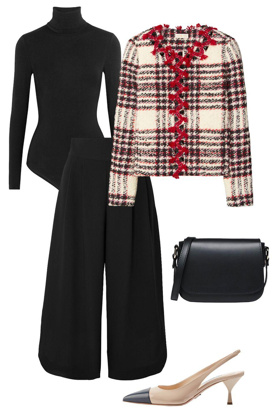 """<p>This black bodysuit alleviates the need for tucking in yet another layer. Close the deal with a streamlined black pant and lady-like jacket</p><p>Shop the pieces: <a href=""""https://www.net-a-porter.com/us/en/product/618045/Wolford/colorado-thong-bodysuit"""" rel=""""nofollow noopener"""" target=""""_blank"""" data-ylk=""""slk:Wolford Colorado Bodysuit"""" class=""""link rapid-noclick-resp""""><em>Wolford Colorado Bodysuit</em></a>, $250; <em><a href=""""https://www.net-a-porter.com/en-us/shop/product/tory-burch/kendra-chiffon-trimmed-linen-blend-tweed-jacket/1233653"""" rel=""""nofollow noopener"""" target=""""_blank"""" data-ylk=""""slk:Tory Burch Jacket"""" class=""""link rapid-noclick-resp"""">Tory Burch Jacket</a></em>, $300; <em><a href=""""https://www.net-a-porter.com/en-us/shop/product/nili-lotan/ilford-wool-blend-twill-culottes/1273705"""" rel=""""nofollow noopener"""" target=""""_blank"""" data-ylk=""""slk:Nili Lotan Culottes"""" class=""""link rapid-noclick-resp"""">Nili Lotan Culottes</a></em>, $330; <em><a href=""""https://www.net-a-porter.com/en-us/shop/product/alexandre-birman/clarita-bow-embellished-suede-slingback-pumps/1258301"""" rel=""""nofollow noopener"""" target=""""_blank"""" data-ylk=""""slk:Alexander Birman Slingback"""" class=""""link rapid-noclick-resp"""">Alexander Birman Slingback</a></em>, $750; <a href=""""https://www.cuyana.com/bags/crossbody-bags/box-crossbody/10010234-001-000.html?utm_source=google&utm_medium=cpc&gclid=Cj0KCQiAj9iBBhCJARIsAE9qRtAjARehGTzg_hbIcFEH3JB797qspwBzXRfC3yXSuroY68q9c6iFD9MaAnDxEALw_wcB"""" rel=""""nofollow noopener"""" target=""""_blank"""" data-ylk=""""slk:Cuyana Bag"""" class=""""link rapid-noclick-resp""""><em>Cuyana Bag</em></a>, $245</p>"""