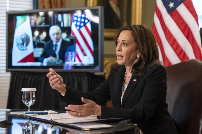 Vice President Kamala Harris speaks during a virtual meeting with Mexican President Andres Manuel Lopez Obrador at the Eisenhower Executive Office Building on the White House complex in Washington on Friday, May 7, 2021. (AP Photo/Manuel Balce Ceneta)