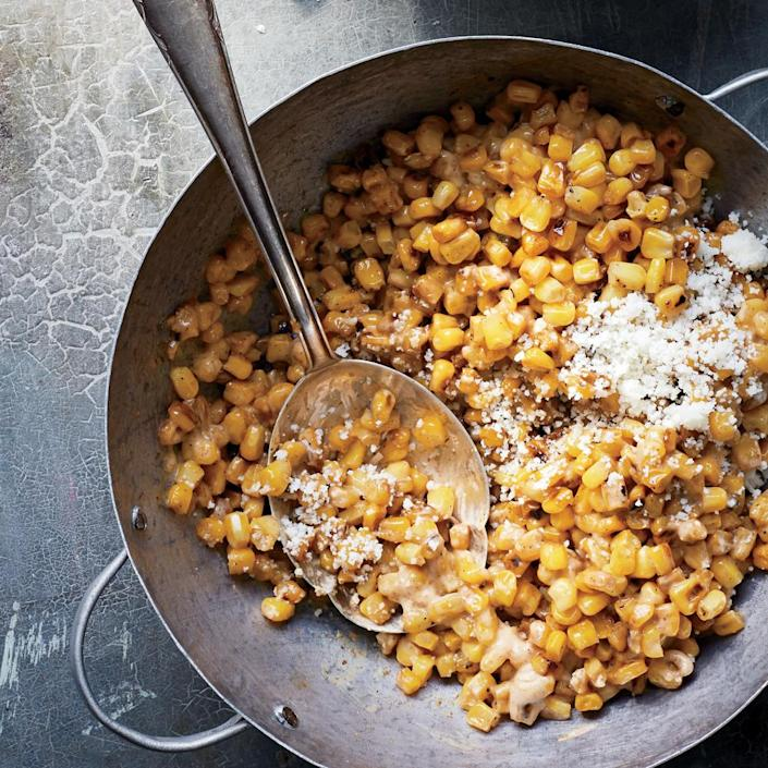 """<p>Esquites is a cousin to elote—that street food favorite of creamy cheese-coated corn cobs. You can also find this off-the-cob version with Mexican street food vendors. It's great on its own or served as a side dish with grilled meats.</p> <p>  </p> <p> <a rel=""""nofollow noopener"""" href=""""http://www.myrecipes.com/recipe/esquites-creamy-corn-salad"""" target=""""_blank"""" data-ylk=""""slk:View Recipe: Esquites (Creamy Corn Salad)"""" class=""""link rapid-noclick-resp"""">View Recipe: Esquites (Creamy Corn Salad)</a></p>"""