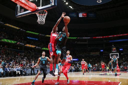 WASHINGTON, DC - MARCH 15: Marvin Williams #2 of the Charlotte Hornets shoots the ball against the Washington Wizards on March 15, 2019 at Capital One Arena in Washington, DC. (Photo by Stephen Gosling/NBAE via Getty Images)