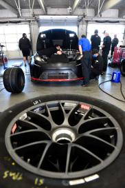 <em>The single lug-nut wheels were used in the Next Gen test Monday (Jared C. Tilton/Getty Images).</em>