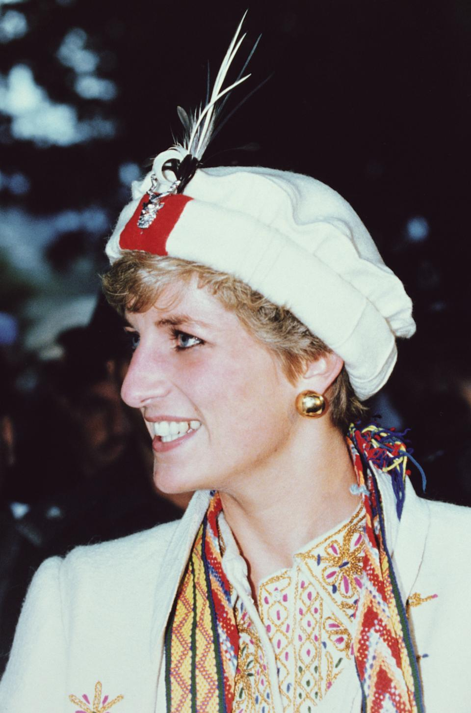Princess Diana (1961 - 1997) on a visit to the Chitral Scouts, near Peshawar, Pakistan, September 1991. (Photo by Jayne Fincher/Princess Diana Archive/Getty Images)
