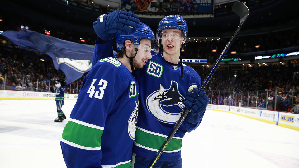 The Canucks have finally locked up Quinn Hughes (43) and Elias Pettersson.  (Photo by Jeff Vinnick/NHLI via Getty Images)