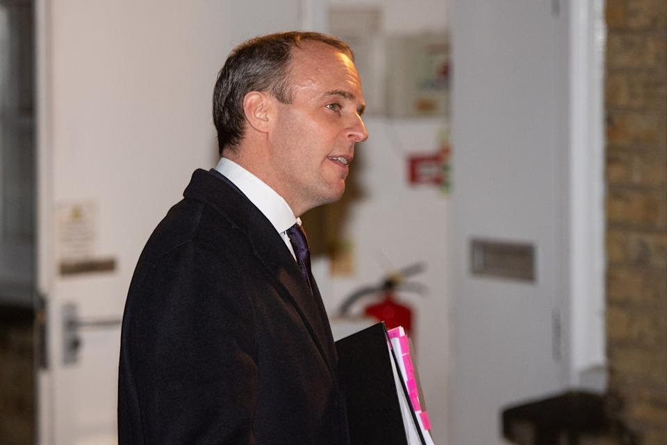 Foreign Secretary Dominic Raab arrives for a hustings event at East Molesey Methodist Church, in East Molesy, Surrey.