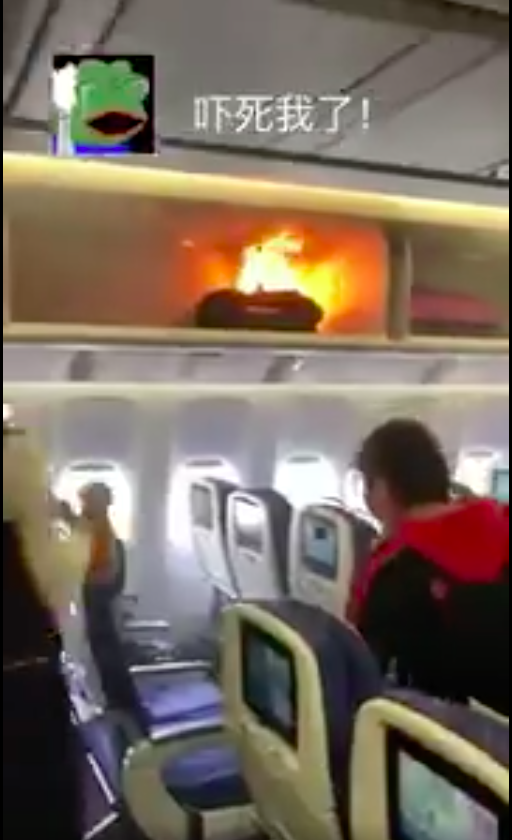 A fire erupted onboard a China Souther flight. Photo: Twitter