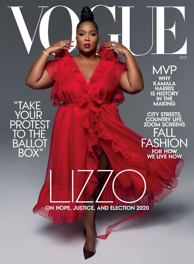 Lizzo's whole body covers Vogue's October issue.