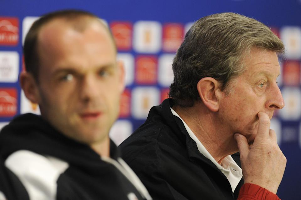 Danny Murphy and Roy Hodgson ahead of Fulham's Europa League final against Atletico MadridAFP via Getty Images