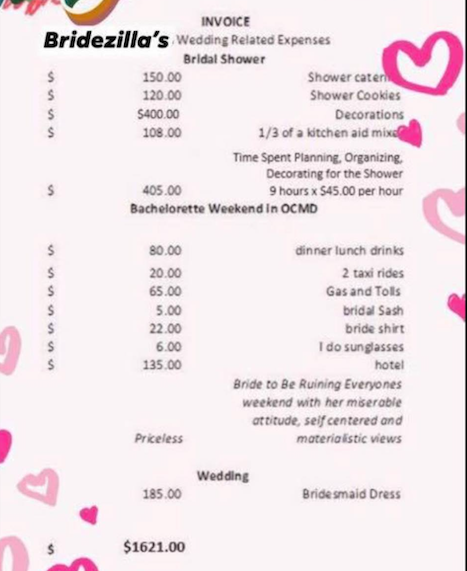 bridesmaid invoice