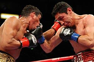 Rafael Marquez (L) and Israel Vazquez engaged in the best fight ever at the StubHub Center, on March 1, 2008.