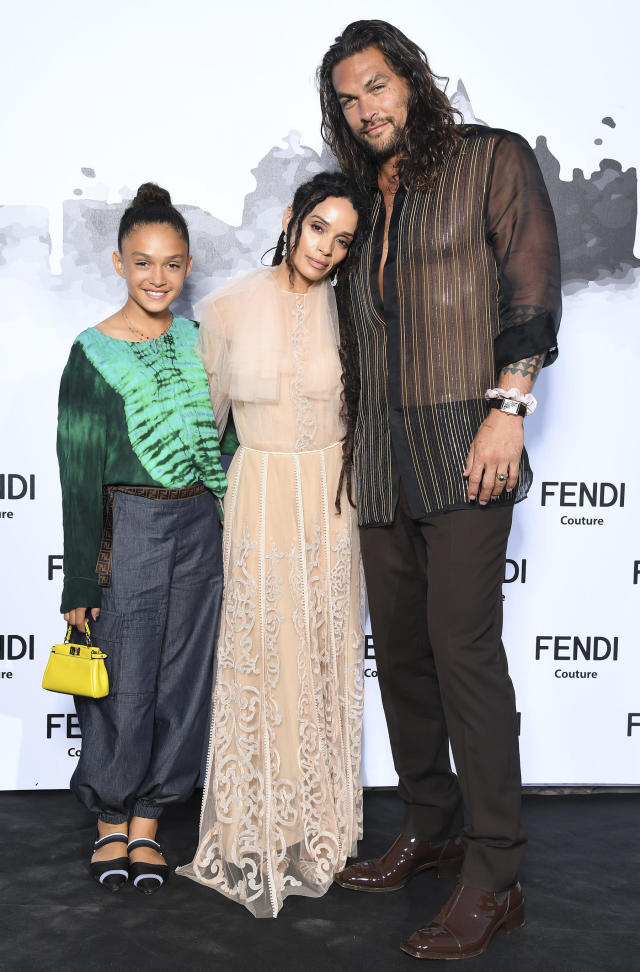 7dcc6e17b9 The Momoa family dressed to impress as they attended the Fendi Couture  fashion show in Rome