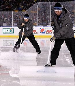 The conditions were far from ideal, but the Caps and Pens played on