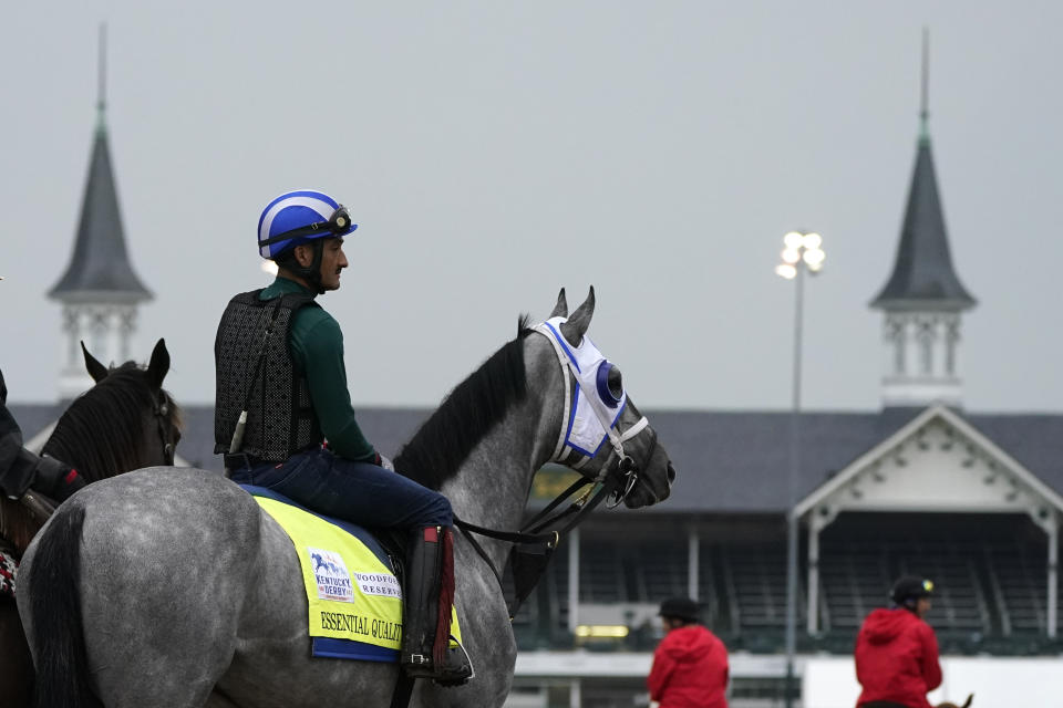 Kentucky Derby entrant Essential Quality waits to work out at Churchill Downs Thursday, April 29, 2021, in Louisville, Ky. The 147th running of the Kentucky Derby is scheduled for Saturday, May 1. (AP Photo/Charlie Riedel)