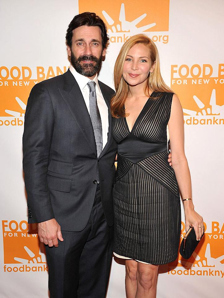 """Mad Men"" star Jon Hamm brought along his girlfriend, Jennifer  Westfeldt, as well one scruffy beard, to the Can-Do Awards at NYC's  Cipriani Wall Street on Tuesday night. A live auction at the event  benefited the New York City Food Bank. (4/17/2012)"