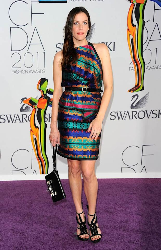 "Liv Tyler wore a short, colorful dress and accessories by Jack McCollough and Lazaro Hernandez of Proenza Schouler. Andrew H. Walker/<a href=""http://www.gettyimages.com/"" target=""new"">GettyImages.com</a> - June 6, 2011"